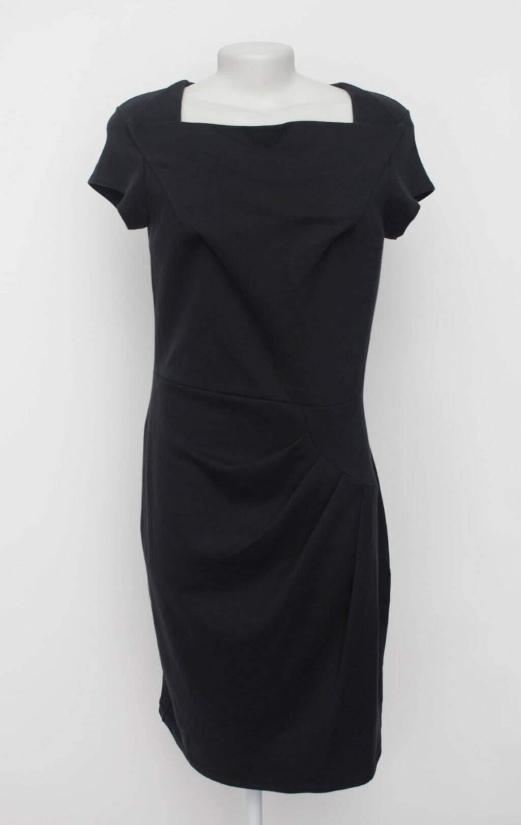 Vestido preto com drapeado bonprix