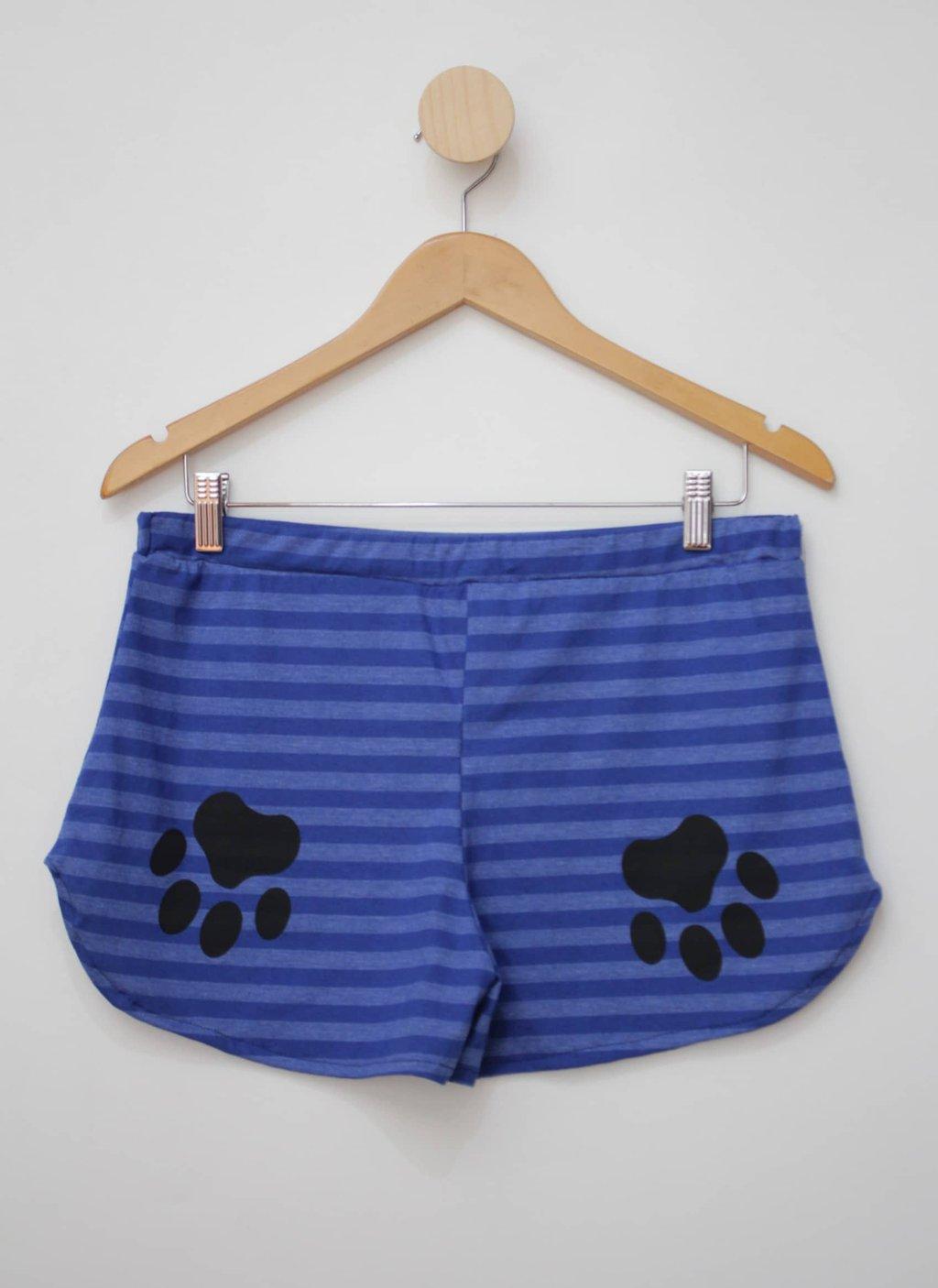 Shorts azul listrado feminino magazine montinegro