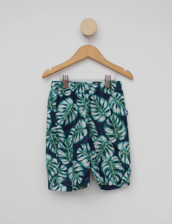 Shorts azul floral puc