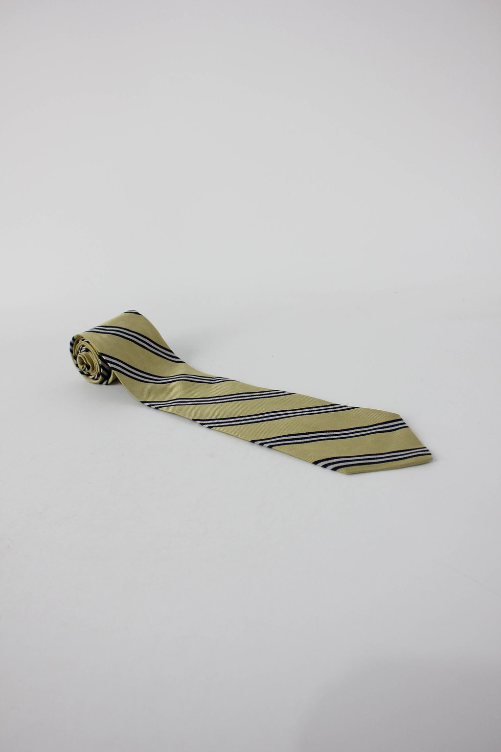 Gravata claybrooke masculina amarela listrada