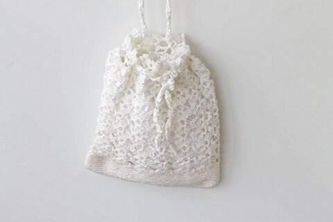Bolsa de Crochê Artesanal Branca_