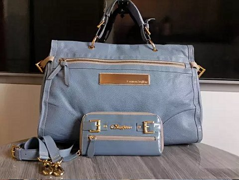 Bolsa E Clutch em Couro Original Carmen Steffens azul Mediterrâneo Nova _foto principal