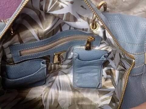 Bolsa E Clutch em Couro Original Carmen Steffens azul Mediterrâneo Nova _foto da etiqueta