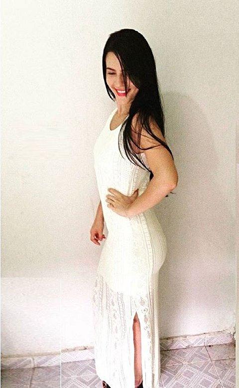 Vestido Branco Longo Tricotado_foto de frente