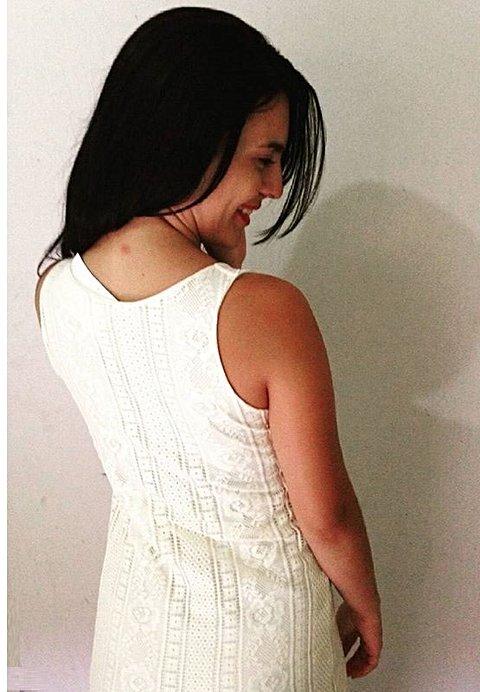 Vestido Branco Longo Tricotado_foto de costas