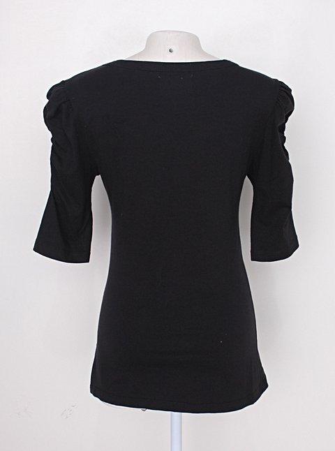 Blusa zara feminina preta de malha_foto de costas
