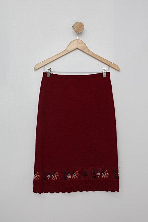 Saia feminina vermelha de tricot alice maciel _foto principal