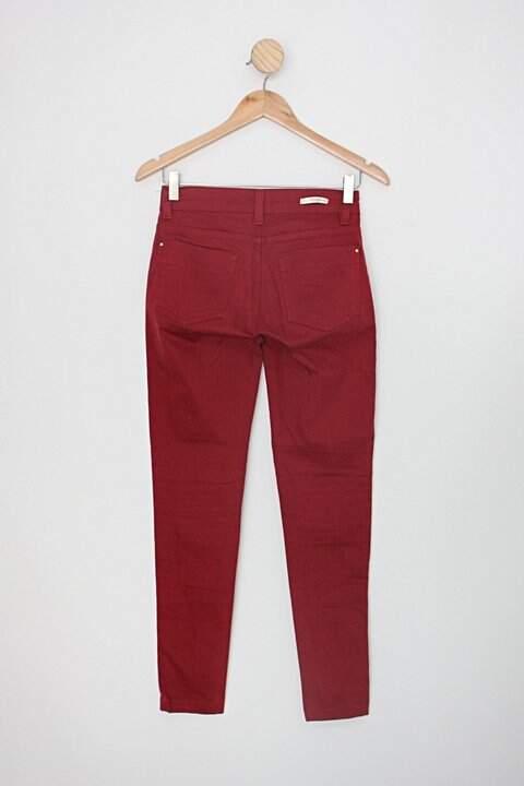 Calça de sarja marisa feminina vermelha_foto de costas