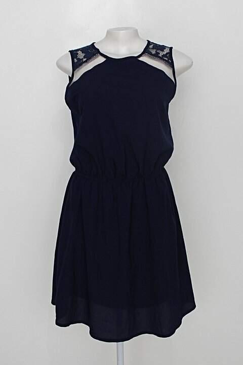 Vestido de Festa blanco feminino azul escuro com Renda_foto principal