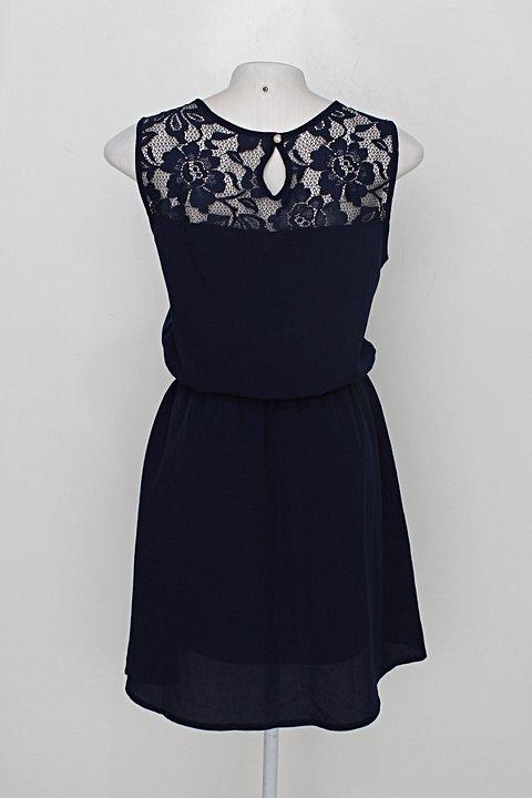 Vestido de Festa blanco feminino azul escuro com Renda_foto de costas