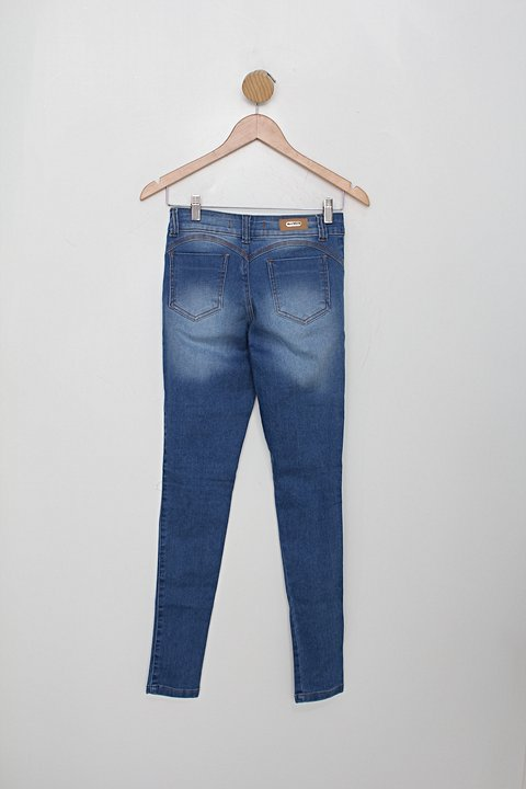 Calça Jeans rosa shock feminina azul_foto de costas