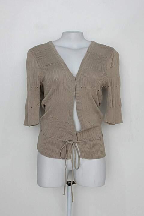 Cardigan curto de tricô gregory feminino bege com laço_foto principal