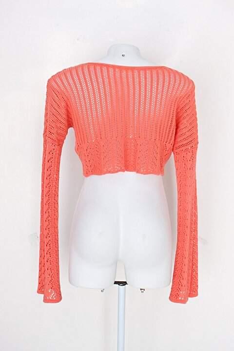Blsa de tricô mega linda feminina coral_foto de detalhe