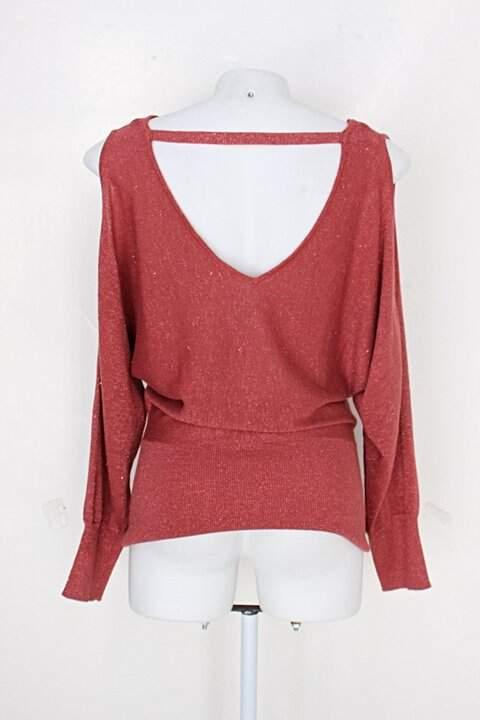 Blusa de Malha c&a feminina vermelha com brilho_foto de costas