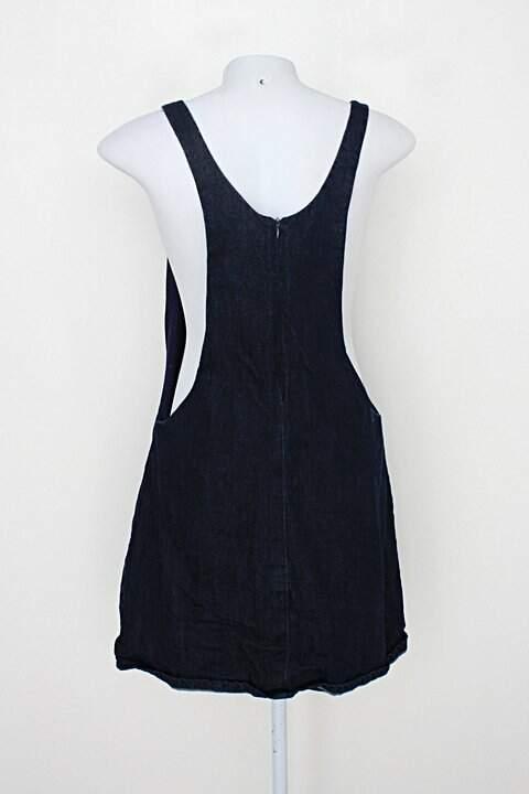 Salopete zara feminina azul com forro_foto de costas