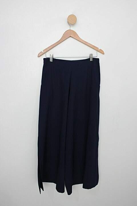 Calça de tecido aqua feminina azul_foto de costas