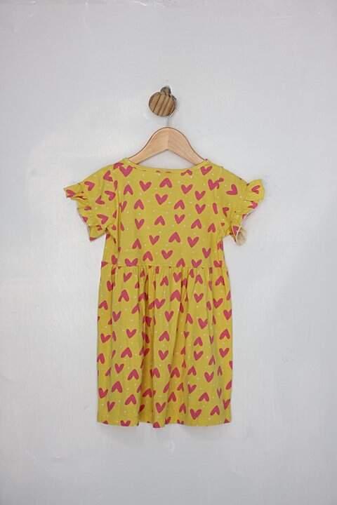 Vestido Infantil tricae amarelo com corações rosa_foto de costas
