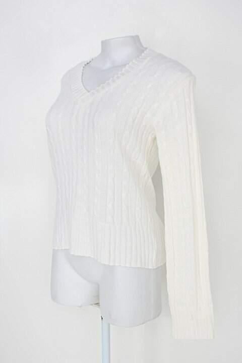 Suéter feminina off-white gola v_foto de costas