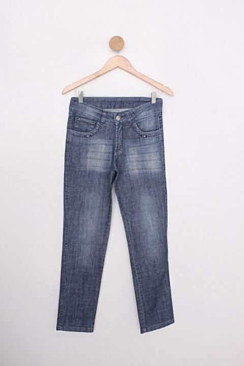 Calça Jeans gilbert feminina estonada c/ strass no botão e spikes azul md._foto principal