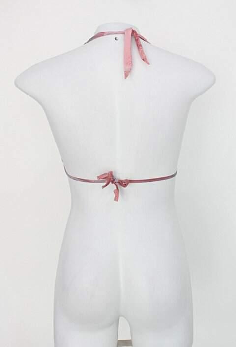 Top de biquíni recco feminino rosa estampado com Bojo_foto de costas