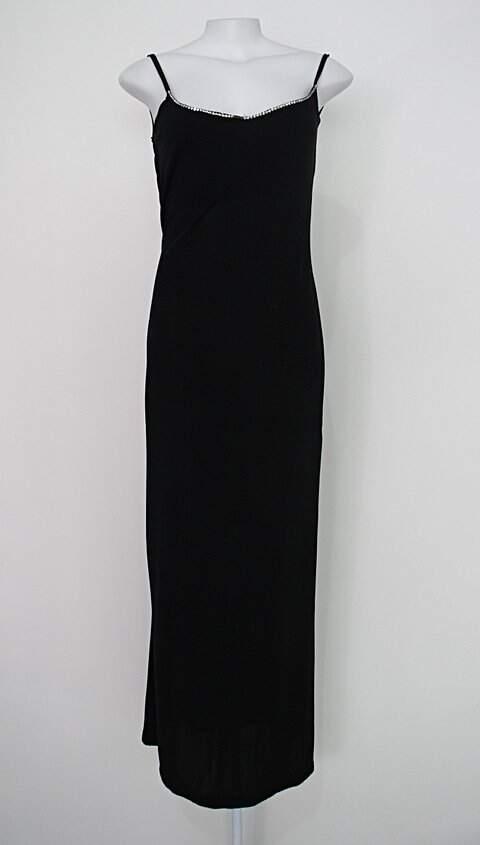 Vestido longo afghan feminino preto com strass no decote_foto principal