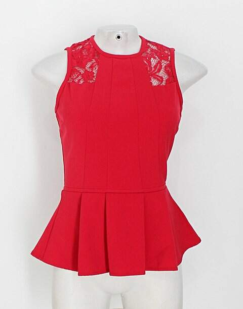 Blusa h&m feminina vermelha com Renda_foto principal