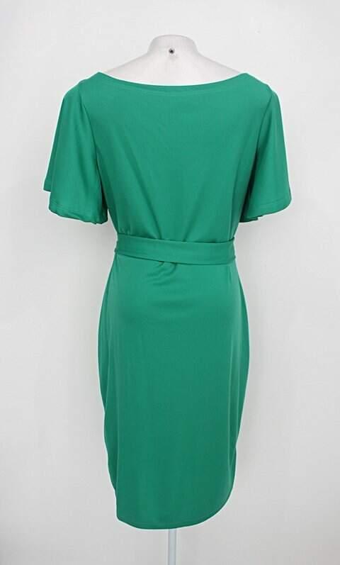 Vestido feminino verde com Faixa na Cintura_foto de costas