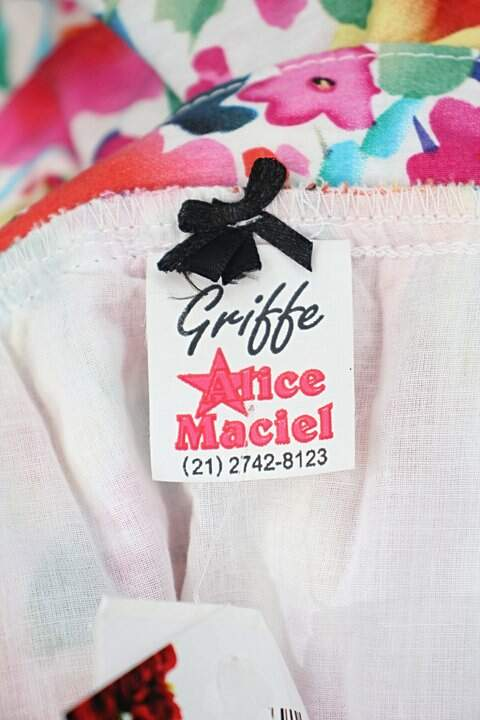 Saia Jeans alice maciel feminina estampada foral _foto de detalhe