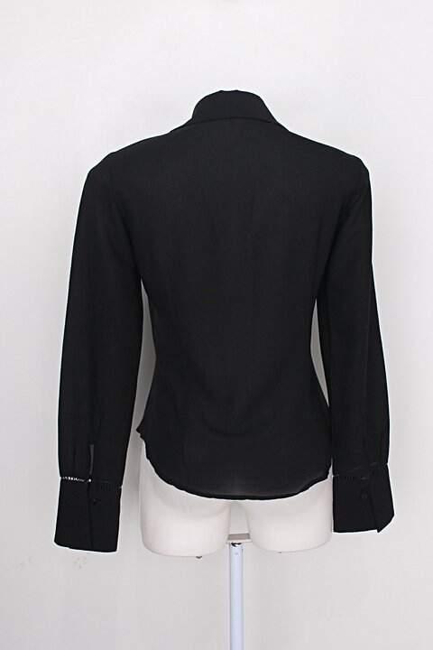 Camisa stazione collection feminina preto com Renda_foto de costas