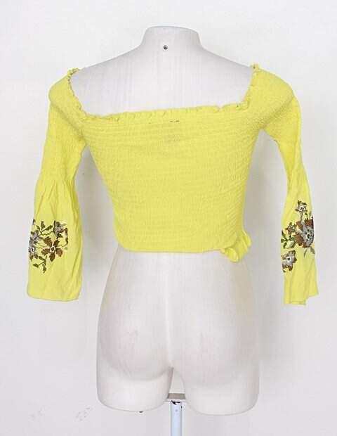 Blusa Ciganinha amarelo esverdeado forever 21 _foto de costas
