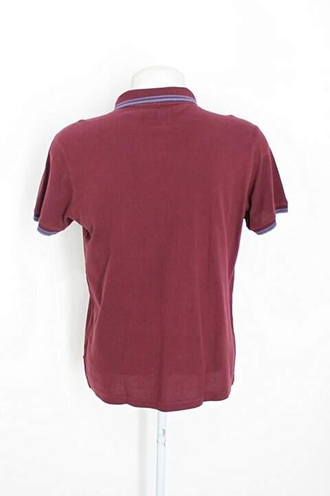 Camisa Polo pique polo masculina vinho_foto de costas