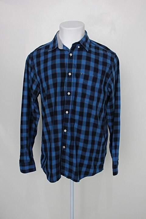 Camisa tommy hilfiger masculina estampada com xadrez azul bic_foto principal