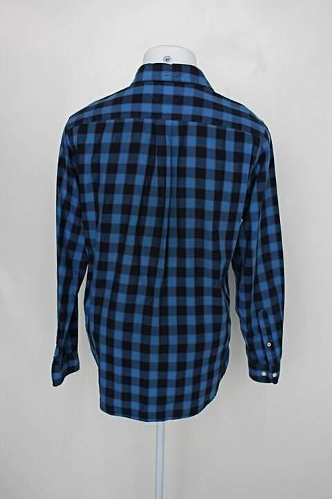 Camisa tommy hilfiger masculina estampada com xadrez azul bic_foto de costas