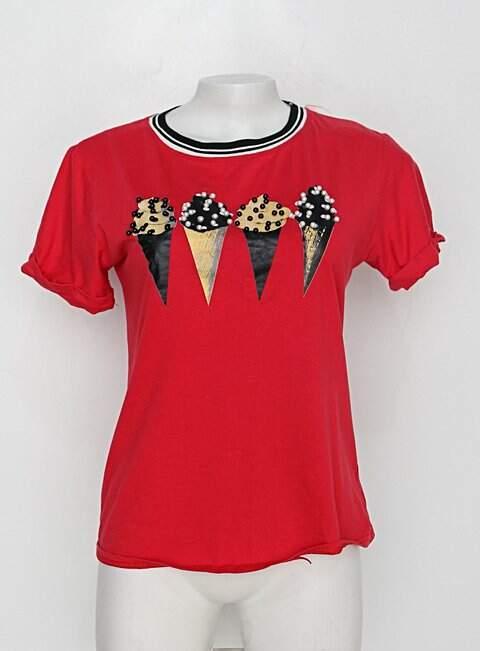 Camiseta ya ying feminina vermelha com Silk e Aplique_foto principal