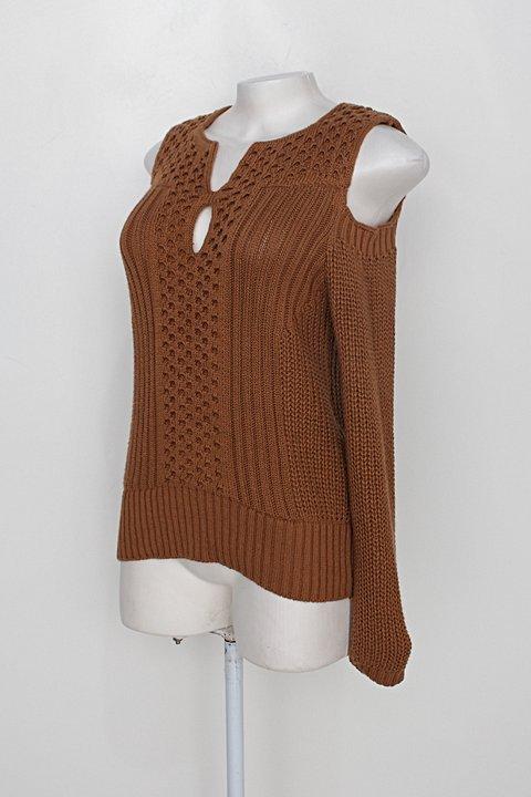 Blusa de Malha vieira tricot feminina marrom clara_foto de costas