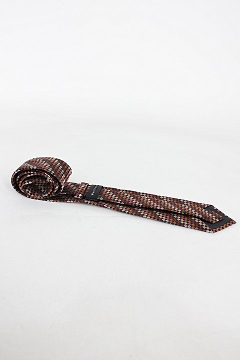 Gravata westcolor masculina estampada marrom_foto de costas