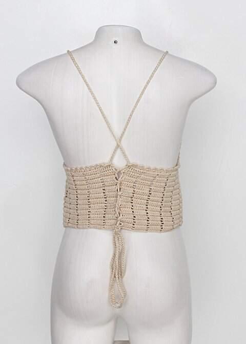 Regata cropped de tricot feminina bege com Bojo_foto de detalhe