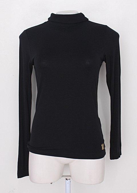 Blusa manga longa moikana feminina preta com gola alta_foto principal