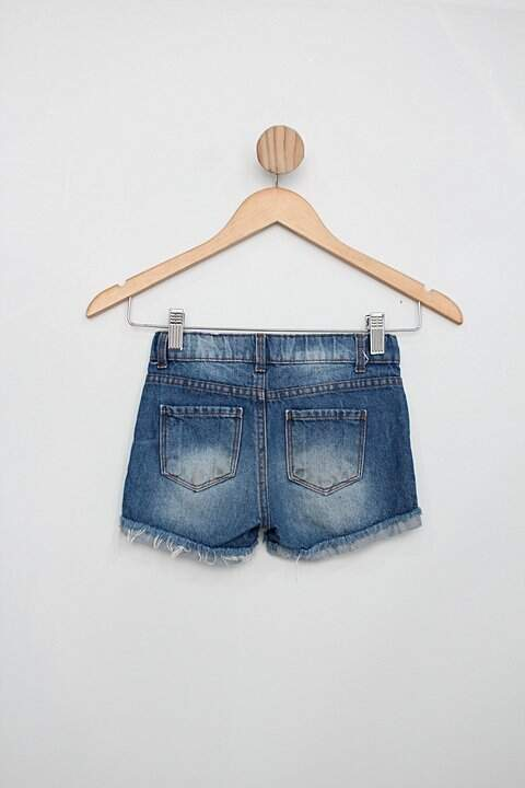 Shorts Infantil kids denim girls azul escuro destroyed_foto de costas
