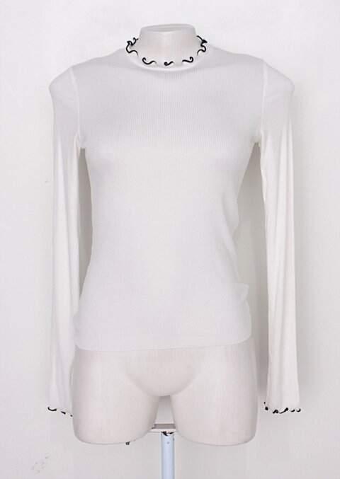 Blusa manga longa canelada zara feminina off-white_foto principal