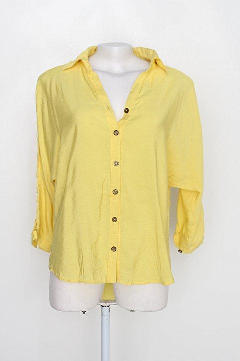 Camisa bela musa feminina amarela com Franja_foto principal