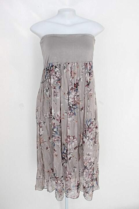 Vestido feminina cinza com estampa floral tomara que caia_foto principal