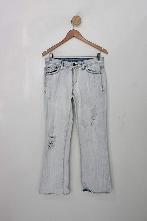 Calça jeans destroyed armani exchange feminina azul denim_foto principal