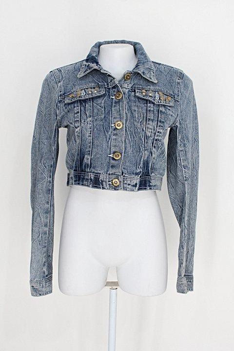 Jaqueta jeans highway feminina azul com Spikes_foto principal