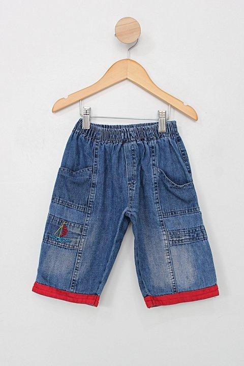 Calça jeans Infantil rhs azul com detalhes vermelho _foto principal