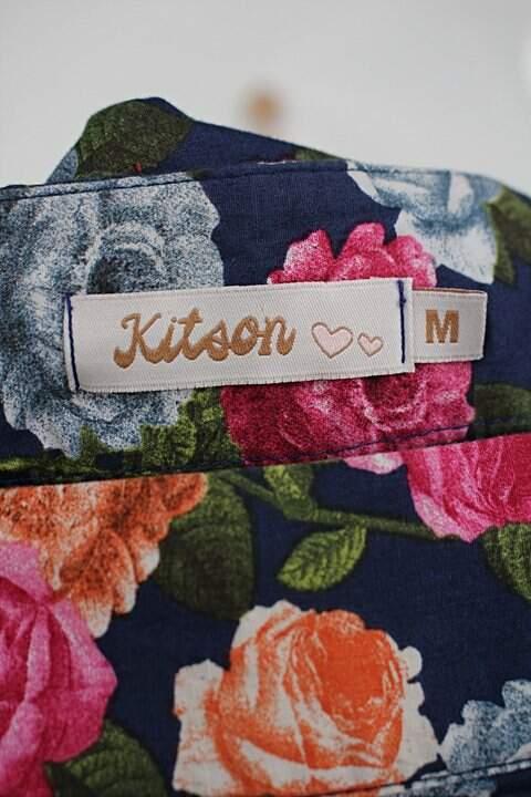 Saia kitson feminina azul com estampa floral_foto de detalhe