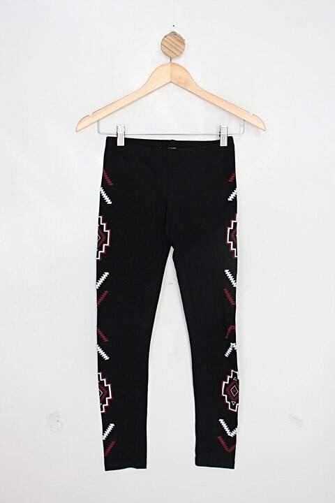 Calça legging forever 21 feminina preta estampada_foto de costas