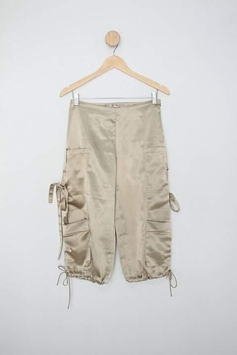 Calça de cetim mó bettah feminina dourada_foto principal