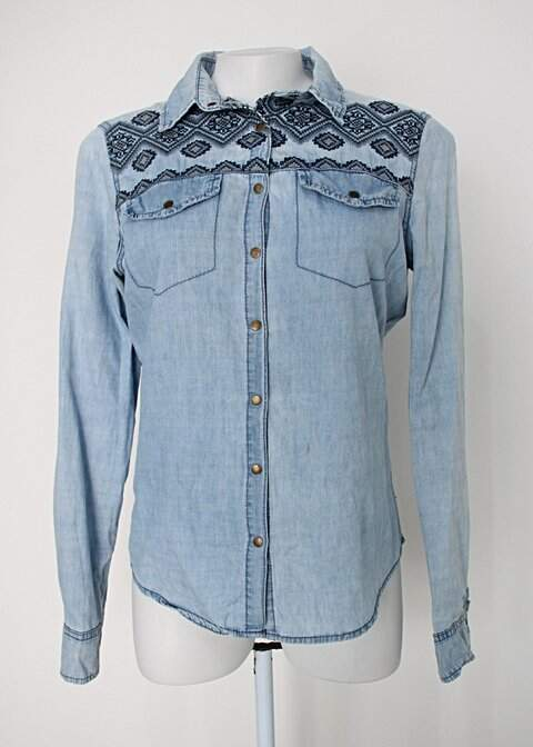 Camisa jeans heli fashion feminina azul com bordado_foto principal
