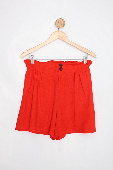 Shorts dany blu feminina laranja com Cós com elástico e Pregas_foto principal